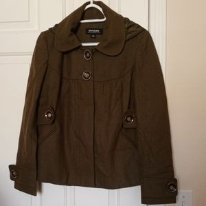 Coffee shop Olive green hooded coat women's Small